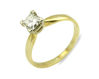 Women's .Diamond Solitaire Ring 14k SOLID Gold 3/4 ct Princess Cut