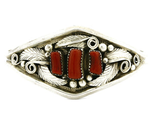 Women's Coral Bracelet .925 Silver Handmade Justin Morris Cuff C.80's