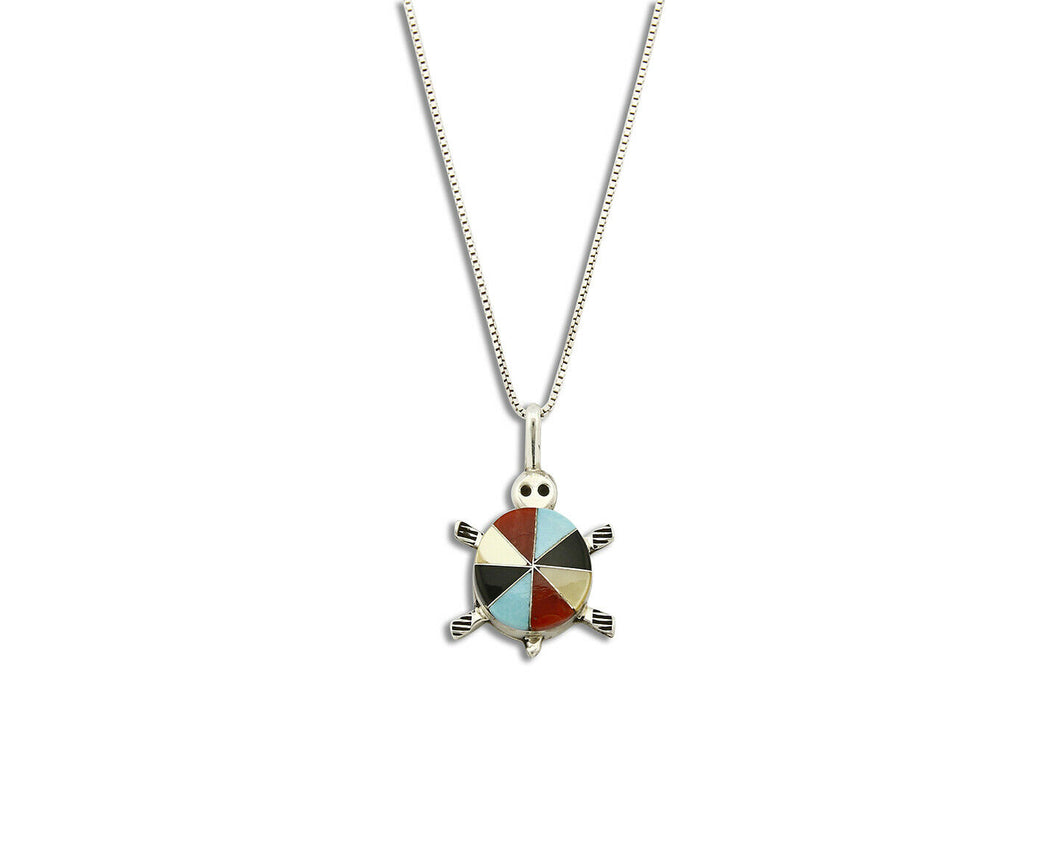 Women's Zuni Turtle Pendant .925 Silver Inlaid Signed JL Necklace