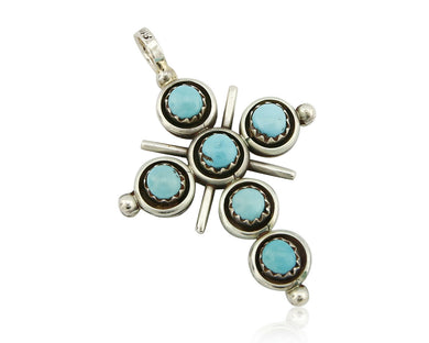 Zuni Natural Turquoise and Coral Reversible 925 Silver Handmade Pendant