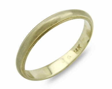 3.4 mm Wide Wedding Band Matte Finish 14k SOLID White Gold Ring