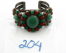 Navajo Bracelet .925 Silver Turquoise Coral Signed SHAKEY C.80's