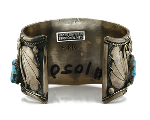 Navajo Turquoise Bracelet .925 Silver Handmade Signed E King Cuff C.80's