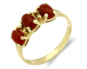 Women's Red Coral Ring Brand RH & Co 3 Stone 14k SOLID Yellow Gold