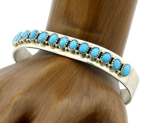 Navajo Bracelet .925 SOLID Silver Turquoise Signed Artist Patrick Yazzie C.80's