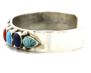 Women's Gemstone Navajo Bracelet .925 Silver Signed Leonard James C.80's