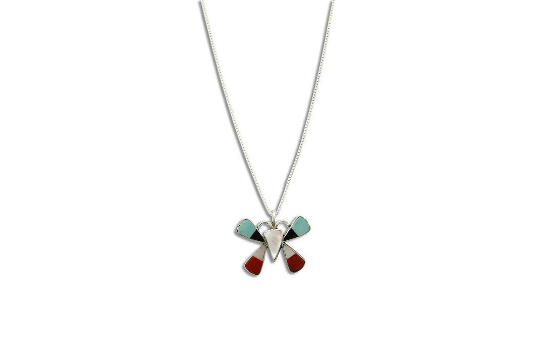 Women's Zuni Necklace .925 Silver Inlaid Gemstone Butterfly Pendant C.1980's