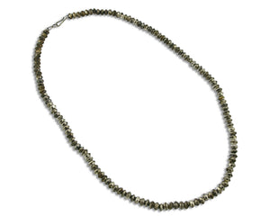 Old Navajo Handmade .925 Silver Bead Necklace 8.1mm Wide 28in Long