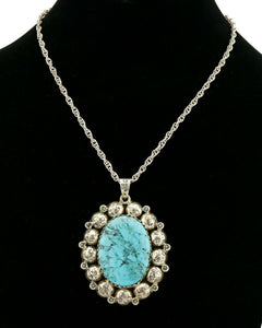 "C. 1980's Navajo Signed ""M"" with Cat Logo .925 Silver Turquoise Necklace"