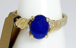 High Quality Blue Lapis & Diamonds Ring in 14k Yellow Solid Gold Italian Made