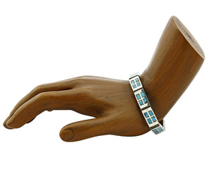 Zuni Inlaid Blue Natural Mined Turquoise .925 Silver Bracelet