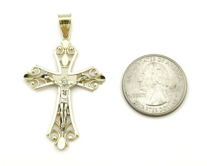 Medium Size Catholic Cross Jesus Crucified 14k SOLID Yellow Gold