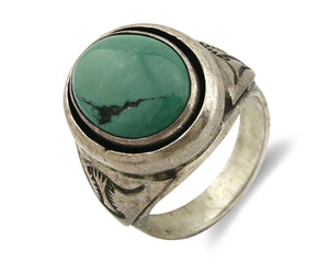 Navajo Green Turquoise Ring .925 Silver Artist Quarter Sun C.80's