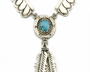 "C.1980's Navajo Signed ""P"" SOLID .925 Silver Turquoise Handmade Necklace"