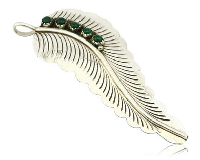 Navajo Malachite Feather Pendant .925 Silver Artist Native American C.80's