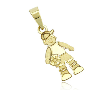 Small Boy with Hat & Soccer Ball 14k SOLID Yellow Gold Pendant