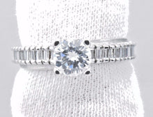 Diamond Wedding Solitaire w/ Accents Ring 1.25 ct Round Cut Solid 14k White Gold