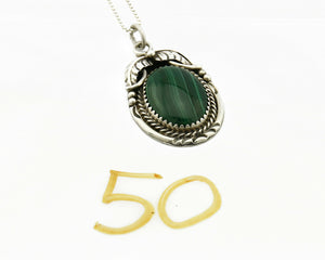 Women's Navajo Malachite Pendant Handmade .925 Silver Signed MP