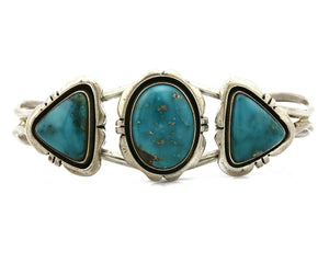 Women's Morenci Turquoise Bracelet Navajo Signed Wydell Billy Cuff C.80's