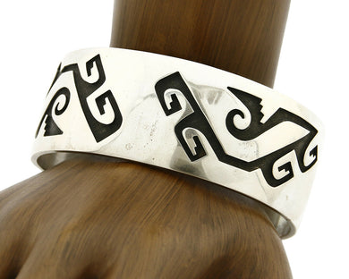 Hopi Bracelet .925 SOLID Silver Cuff Overlay Signed Artist CUCH C.80's