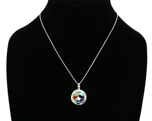 Women's Zuni Pendant .925 silver Gemstone Handmade Signed Chaloo Necklace