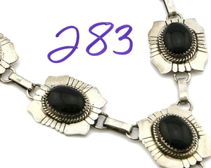 Women's Navajo Onyx Necklace .925 Silver Hand Stamped C.80's