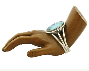 Women's Navajo Bracelet .925 Silver Natural Turquoise Cuff C.90's
