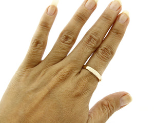 SOLID Yellow 14k Gold 3.6 mm Wide Plain Band Ring