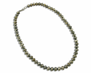 Old Handmade Navajo Bead Necklace 10mm Wide .925 Silver 22 in Long