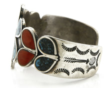 Old Pawn Small Navajo Bracelet .925 Silver Gemstone Signed J330034
