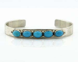 Navajo Bracelet .925 SOLID Silver Turquoise Signed Artist Bea Tom C.80's