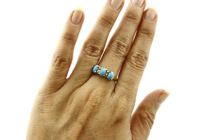 Women's Turquoise Ring Brand RH & Co 3 Stone 14k SOLID Yellow Gold