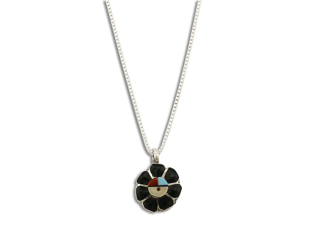 Women's Zuni Necklace Inlaid Gemstone .925 Silver Pendant