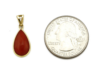 Women's Pendant 18k Yellow Gold Natural Red Mediterranean Coral