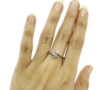 Women's Modern Bar .36 ct Zircon 14k SOLID White Gold European Ring