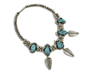 Women's Navajo Turquoise Necklace .925 Silver Natural Morenci C.1960's