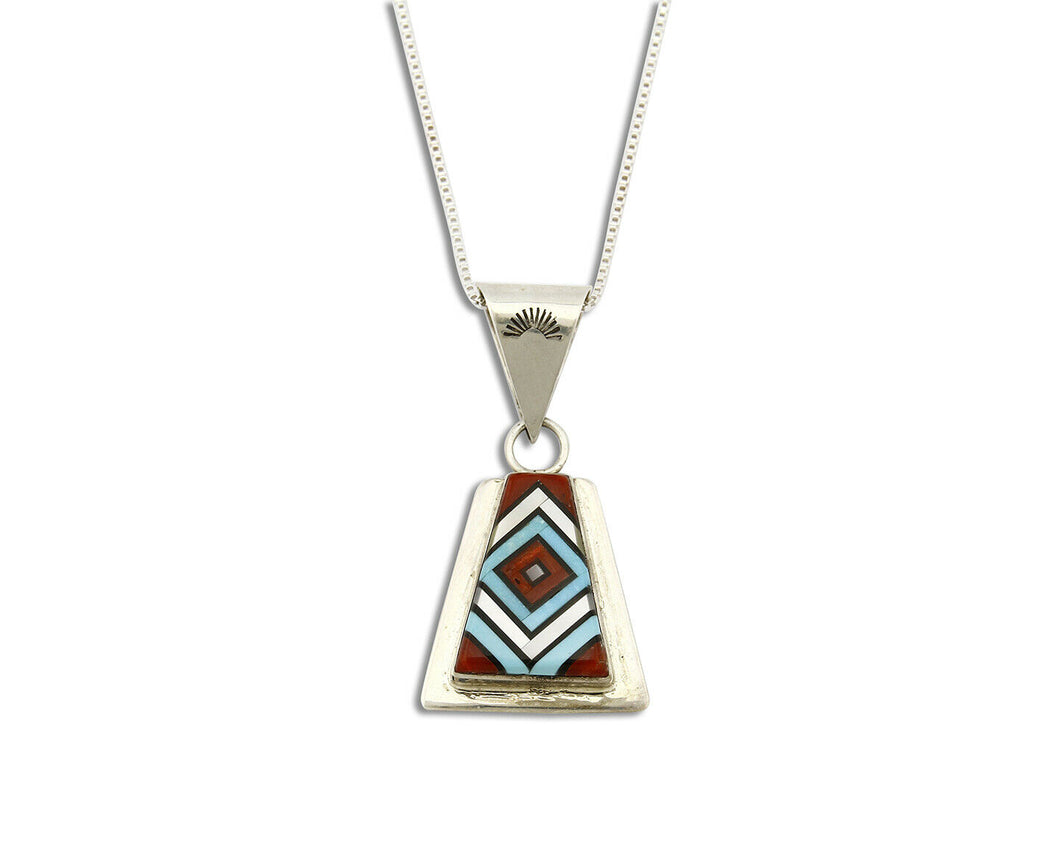 Women's Zuni Inlaid Pendant .925 Silver Signed V. Vacit