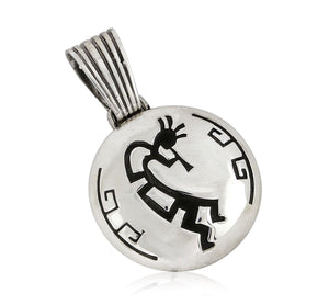 Navajo Kokopelli Shield Medium Pendant .925 SOLID Sterling Silver