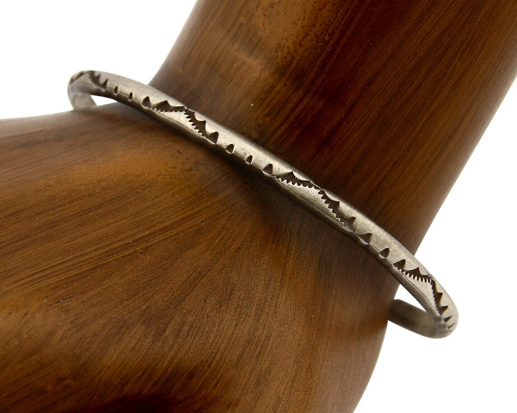 Navajo Bracelet .925 Silver Hand Stamped Native American Artist Circa 70's