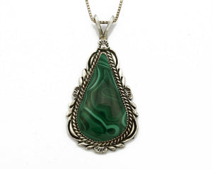 C.80-90's Navajo Billy Eagle .925 SOLID Silver Natural Mined Malachite Necklace