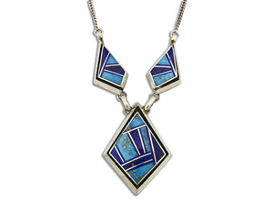 Women's Navajo Necklace .925 Silver Lapis & Turquoise