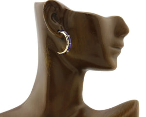 Women's Hoops Sugilite 14k SOLID Gold Push Back Earrings