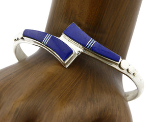 Navajo Cuff Bracelet .925 Silver Lapis Turquoise Native American