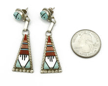Women's Zuni Earrings .925 Silver Turquoise Coral Onyx Signed WCN