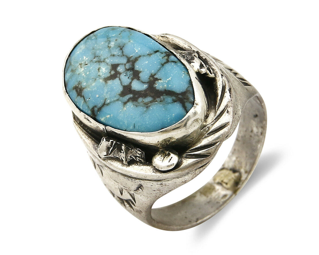 Navajo Kingman Turquoise Ring .925 Silver Artist Native American C.80's Sz 9.75