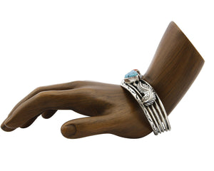 Women's Navajo Bracelet .925 Silver Turquoise & Coral Signed Tom Willeto C.80's