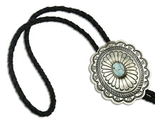 Navajo Turquoise Bolo Tie .925 Silver Handmade C.80's Turquoise J Blackgoat