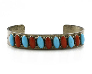 Navajo Bracelet .925 Silver Turquoise Coral Cuff Signed Daniel Mike
