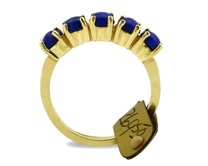 Women's Navajo Ring 14k SOLID Yellow Gold Lapis C.80's RH & Co Size 5