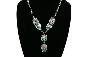 Women's Navajo Turquoise Necklace .925 Silver Handmade C.1980's
